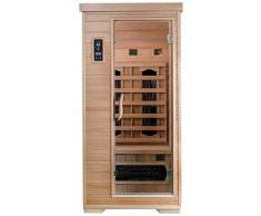 SaunaMed, sauna a infrarossi FAR, lussuosa, in cicuta, per 1 persona, con tecnologia EMR (risonanza elettromagnetica), marchio NeutralTM