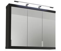 Trendteam Armadio a specchio per il bagno Armadio a specchio per il bagno, Piastra di tensione, Bianco e argento fumo imitazione