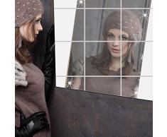 Lifetop 16 pezzi, piastrelle, specchi, auto-adesiva-Adesivi da parete con specchio, effetto specchio