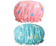 Cuffia da doccia a forma di unicorno, riutilizzabile, impermeabile, doppio strato per le donne protezione dei capelli EVA plastica pizzo elastico fascia cappello ambientale