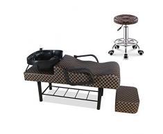 DNNAL Shampoo Sedia e Ciotola per Salone, Shampoo Bowl Lavandino Sedia per Spa Beauty Salon Punch Bed Letto da Incasso,B3