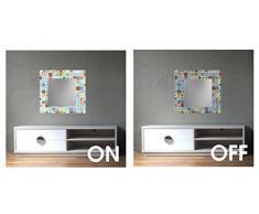 Ccretroiluminados Piastrelle Portugues Piccoli Specchio da Bagno con Luce, Acrilico, Multicolore, 60Â x 60Â x 5,3Â cm