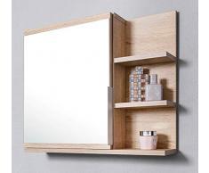 Domtech Home Decor - Armadietto da bagno con specchio, ripiani e luce a LED, in autentico rovere Sonoma, R