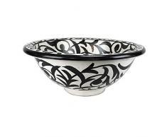 Lavandino lavabo Marocchino diametro cm 50 sia da incasso che d'appoggio in ceramica dipinto a mano