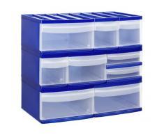 Rotho - Mini cassettiera Systemix Tower in plastica, scomparti di misura S, 19,6 x 14 x 23,3 cm, cassetti trasparenti, DIN A6, blau / transparent, XS