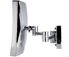VELMA - SQUARE - LED220 5x - Esclusivo Specchio cosmetico / Specchio ingranditore / Specchio da trucco / Specchi per radersi illuminato a LED dal design elegante e senza tempo- Ingrandimento x5 - Orientabile - Allineabile alla