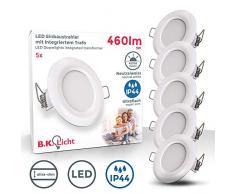 Faretti LED da incasso ultrapiatti, LED integrati 5W, diametro foro 75mm, faretti per bagno ultrasottili da soffitto, luce bianca naturale 4000K, set da 5 rotondi, plastica bianca, 230V, IP44