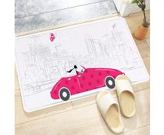 Tappetino da Bagno Antiscivolo,Automobili, donna alla guida di auto depoca rosa Sketchy Cityscape e Butterfl,Tappetini per Il Bagno Vasca Doccia WC Tappeto da Terra in Microfibra Assorbente 60x100 cm