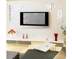 Oyedens, set da 2 pezzi di specchi acrilici adesivi da parete fai da te ad angolo diagonale per sfondo TV Silver
