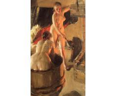 ZORN WOMEN BATHING IN THE SAUNA ARTISTA QUADRO RIPRODUZIONE DIPINTO OLIO A MANO 65x40cm qualita museo