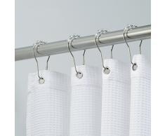 iDesign Ganci per tende doccia, Pratico supporto tenda doccia, Set da 12 anelli per tende da doccia in metallo e plastica, argento e trasparente