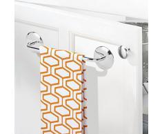 mDesign AFFIXX appendi asciugamani bagno e porta strofinacci cucina - Appendi asciugamani da muro senza montaggio - Sistema adesivo - Perfetto anche in bagno - Acciaio