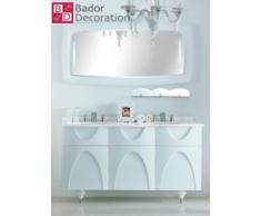 Lavabo doppio lavabo design vanità di lusso in marmo bianco 150,4x83,5x54,5