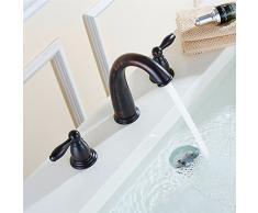 SADASD Il lavandino del bagno rubinetto antiquariato Europeo due coppie di rame a tre fori lavabo tre fori Split Lavabo rubinetto doppio interruttore(acqua calda e fredda)