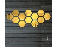 ATFUNSHOP Specchi da Parete Esagono 12 Pezzi 12CM - Acrilico Adesivo Oro Specchio a Muro Decorativi DIY MODERNI per Ingresso Maison Camera da Letto Salotto
