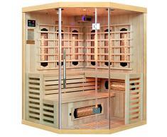 Artsauna, cabina a infrarossi Lillehammer a spettro completo e legno Hemlock, sauna a infrarossi con calore profondo per 4 persone