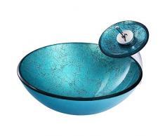 HomeLava Lavabo da Appoggio per Bagno Lavabo in Vetro Temperato Moderno Rotondo Lavandino per Bagno Design in Lamina Blu