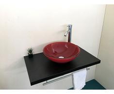 Lavabo lavamano bagno soprapiano in vetro doppio strato forma tonda colore rosso