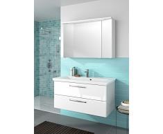 Pelipal Trentino 1100 Set di mobili da bagno (110 cm), composto da lavabo in marmo minerale, mobile basso, armadietto con specchio