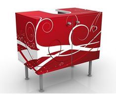 Mobile per lavabo design Ti Amo 60x55x35cm, basso, Larghezza: 60cm, regolabile, mobiletto da lavandino, lavandino, mobiletto da lavabo, lavabo, mobiletto, bagno, bagnetto, mobile da bagno