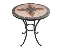 Bagno Italia Arredamento per Esterno Set Giardino tavolino Rotondo in Mosaico con 2 sedie arredo Ferro battuto I