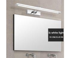 KKVV Moda semplice in acciaio inox da bagno LED specchio frontale luci del bagno della lampada da parete degli specchi della lampada si illumina Camera di trucco , are white