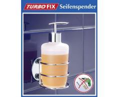 Wenko 18777100 Turbo-Loc dosasapone - fissaggio senza trapano, Acciaio, 7.5 x 16.5 x 9 cm, Cromo