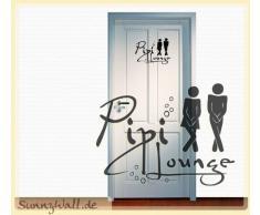 """Sunnywall - Adesivo da parete per bagno, con scritta """"Pipi Lounge"""" Misura 1 = 19 x 14 cm Nero (nero)"""