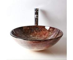 MICOKY Sopra lavabo da appoggio lavabo rotondo in vetro retro lavabo imitazione giada 42 * 14
