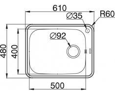 Pyramis SPACE PLUS 1B, Lavabo da incasso in acciaio INOX, lucido, 108717402