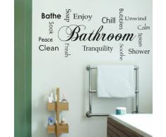 Adesiviamo Bathroom L Adesivo Murale, PVC, Nero, 119 x 55 cm