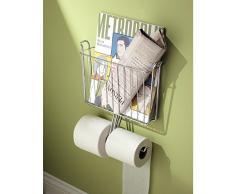 InterDesign Classico Porta carta igienica da muro | Portarotolo carta igienica per 2 rotoli | Con portariviste integrato | Metallo cromo