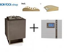 Sauna forno Thermat 9 kW incl. Econ D1 sauna sanguigna finlandese EOS fiscale e 2 cunei testa BONPOOL