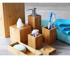 L'originale MK Bamboo London - Esclusivo set da bagno composto da 7 pezzi realizzato in bambù - Include: Cestino dei rifiuti, distributore di sapone, porta saponetta , porta tovaglioli, porta spazzolino da denti, un vassoio ed