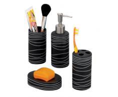 Zeller 18252 Set 4 accessori da bagno in ceramica colore: Nero