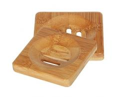 TRIXES Piccolo portasapone quadrato in legno per bagno e lavandini.