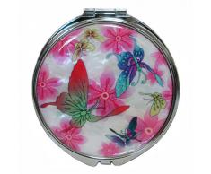 Specchio a Mano Da Donna Bianco in Madreperla Specchio Compatto Per Truccarsi Per Trucchi o Cosmetici Con Motivo Farfalla