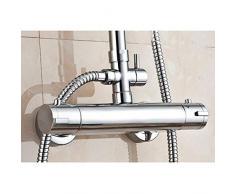 """Moderno rotondo bagno rubinetto miscelatore termostatico per doccia da parete in ottone 3/4 """"uscita superiore"""