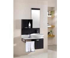 Mobile Arredo Bagno 80cm moderno sospeso wengè grigio con lavabo d'appoggio Mobili