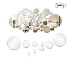 mengger Specchio da Parete Adesivo Fogli autoadesivi Cerchio 56 Pezzi Rotondo Specchi per la Decorazione Domestica Piastrelle Appiccicoso