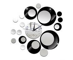 DIY Specchi Orologi da Parete Nero Personalizzato Cerchio di Colore Personalizzati Sveglia da Parete Casa Moderni da Muro Grandi Dimensioni Orologio Murale
