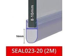 Guarnizione doccia per schermi, porte o pannelli | Fits 8, 9 o 10 mm vetro | Forma rotonda bolla fessure sigilli di fino a 16 mm | 80 cm, 90 cm, 140 cm o 2 m Long | SEAL023