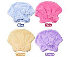 Cappello Capelli Secchi, INTVN Dry Hair Cap Cuffia da doccia da donna carina bowknot del ultra assorbente doccia bagno cap spa, 4 Pezzi