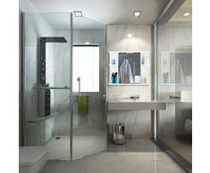 Relaxdays Armadietto a Specchio da Bagno, Presa Elettrica Incorporata, 6 Scomparti, Acciaio, Bianco, 45 x 50 x 12 cm