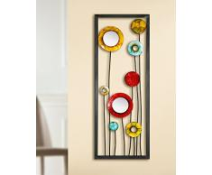 Gilde da parete in metallo Relief fiori multicolor con due piccoli specchi rotondi 69921 30 x 81 cm