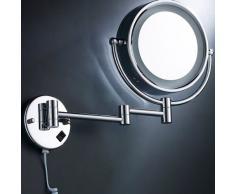WmicroIT parete da 8,5 pollici cosmetici da trucco da barba LED specchio illuminato bagno doppi lati ingrandimento 5x ,LED lighted bathroom mirror Make up mirror 5x Magnification