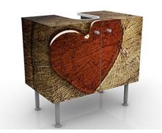 Mobile per lavabo design Natural Love 60x55x35cm, basso, Larghezza: 60cm, regolabile, mobiletto da lavandino, lavandino, mobiletto da lavabo, lavabo, mobiletto, bagno, bagnetto, mobile da bagno