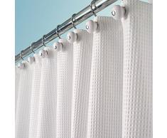 mDesign lussuosa tenda doccia in tessuto misto cotone - misure: 180 x 180 cm - colore: bianco - tende doccia tessuto - tende da bagno