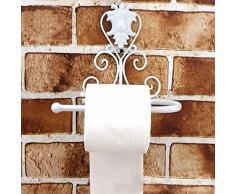 Porta carta igienica, Woopower vintage dispenser portarotolo carta igienica bagno a parete in ferro con vite ,3 colori per la scelta, White, 21cm(L)x10cm(W)x18(H)cm