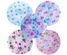 5X Cuffia per doccia, Molylove Cuffie da bagno, Cuffia da bagno stampabile impermeabile elastica con stampa floreale riutilizzabile per donna, ragazza e bambino